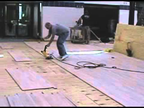 Hardwood Flooring Installation With Stapler Roller Youtube