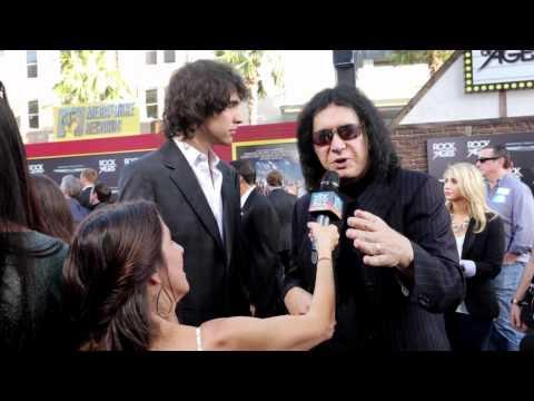 Gene Simmons with Martha Quinn at the Rock of Ages Movie Premiere