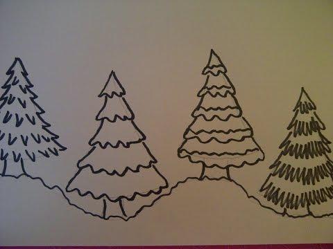 4 Möglichkeiten einen Weihnachtsbaum zu zeichnen.  Weihnachtskarten selber  malen