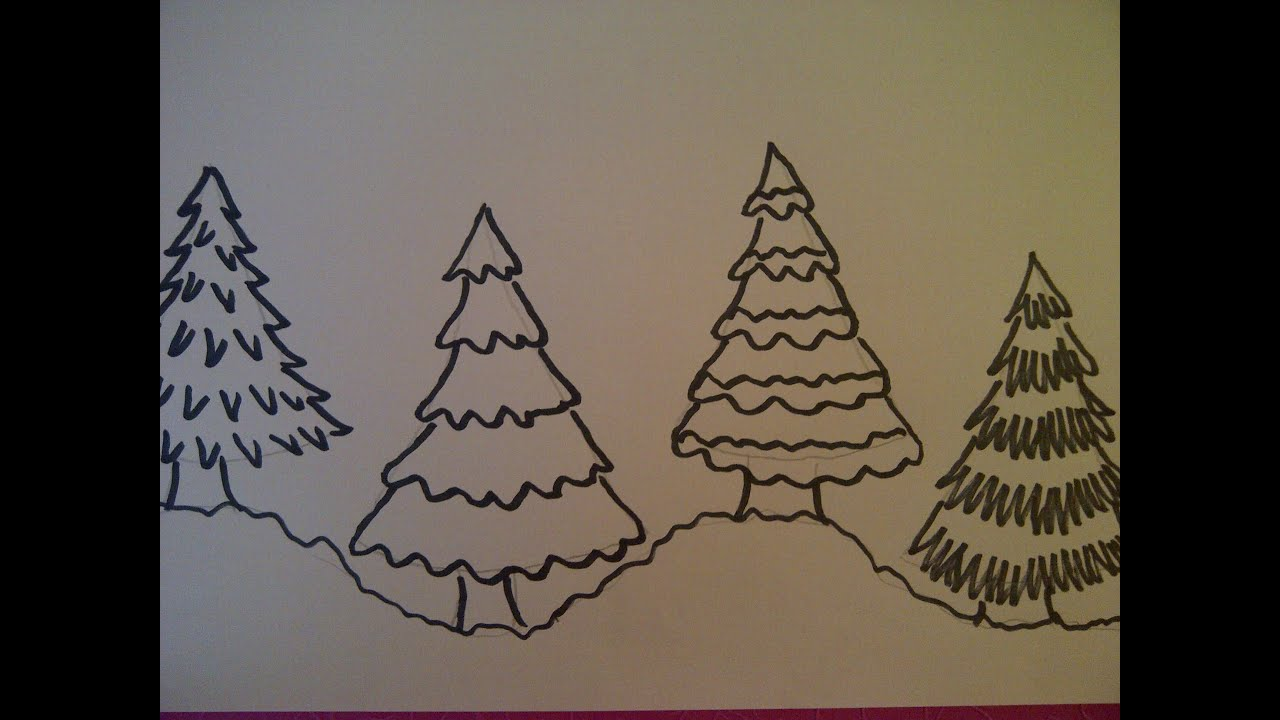 4 Möglichkeiten Einen Weihnachtsbaum Zu Zeichnen Weihnachtskarten