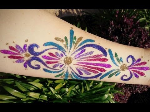 Glitter tattoo freehand youtube for Where to get glitter tattoos