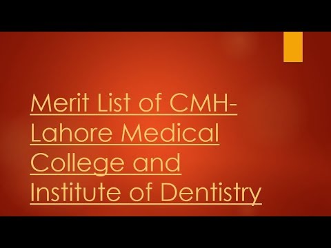 CMH Lahore Medical College and Institute of Dentistry, Lahore Cantt merit  list 2018-19