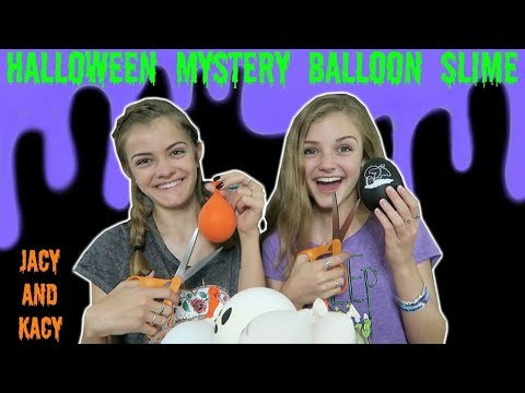 Thumbnail: Halloween Mystery Balloon Slime Challenge ~ Jacy and Kacy