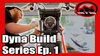 Harley Dyna Build Series Ep.1 - Exhaust, Headlight, Paint, Vinyl Wrap