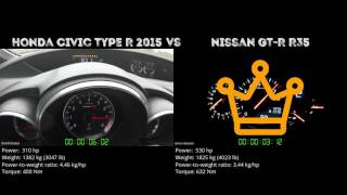 Honda Civic Type R 2015 vs. Nissan GT-R R35 - the 0-100 km/h duel. ...