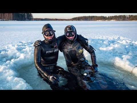 Freediving Under ICE In A Frozen Lake In FINLAND!