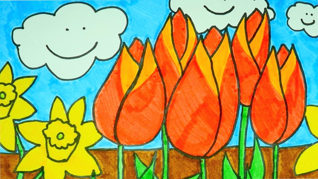 How To Draw A Flower Garden  Kids Coloring Video