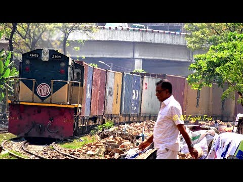 Freight Train Passing Near To  Malibagh , Dhaka, Bangladesh