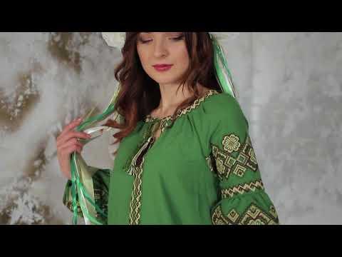 Домотканне вишите плаття Казка зелене ТМ Діброва