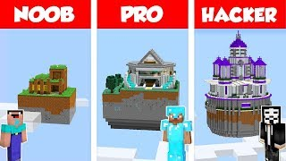 Minecraft NOOB vs PRO vs HACKER: SECRET SKY HOUSE-BUILD-CHALLENGE in Minecraft / Animation