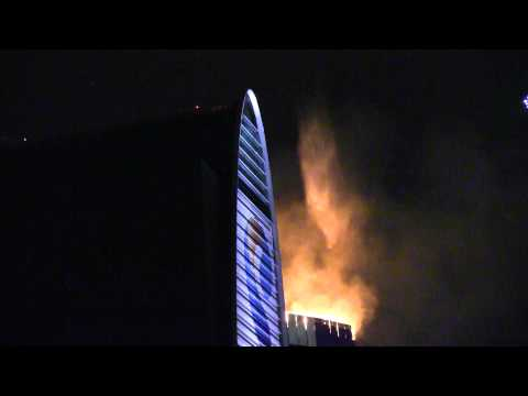 Moscow-city. Fire at Federation tower. 2
