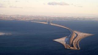 мост со Швеции к Дании ...Мальме ,Эресуннский мост,тоннель