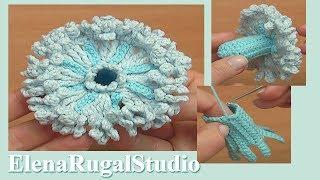 How to Crochet 3D Flower Tutorial 112 Cómo crochet 3D Flower