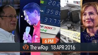 Aquino's rating, oil prices, US elections | 6PM wRap(HIGHLIGHTS 0:06 Aquino's rating drops, 3 months before his term ends 0:38 Australia condemns jokes on rape and murder 1:26 Oil prices plunge after leaders ..., 2016-04-18T11:17:06.000Z)