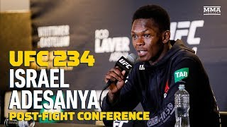 At the UFC 234 post-fight press conference, Israel Adesanya discusses his decision win over Anderson Silva, where he goes next, the withdrawal of Robert Whittaker from the event, his career, and much more.  Subscribe: http://goo.gl/dYpsgH  Check out our full video catalog: http://goo.gl/u8VvLi Visit our playlists: http://goo.gl/eFhsvM Like MMAF on Facebook: http://goo.gl/uhdg7Z Follow on Twitter: http://goo.gl/nOATUI Read More: http://www.mmafighting.com Subscribe to the podcast: http://applepodcasts.com/mmahour  MMA Fighting is your home for exclusive interviews, live shows, and more for one of the world's fastest-growing sports. Get latest news and more here: http://www.mmafighting.com