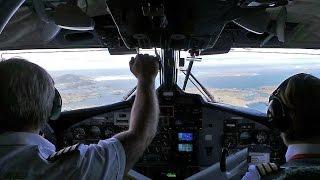 Full cockpit view of beach landing into Barra Scotland