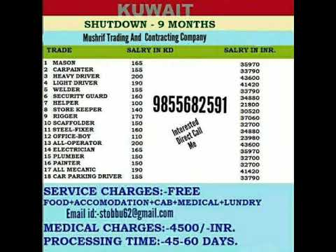 Free Visa ||Kuwait ||Shut down || Visa 9 Months Only Vacancies in Large no  No Service Charge