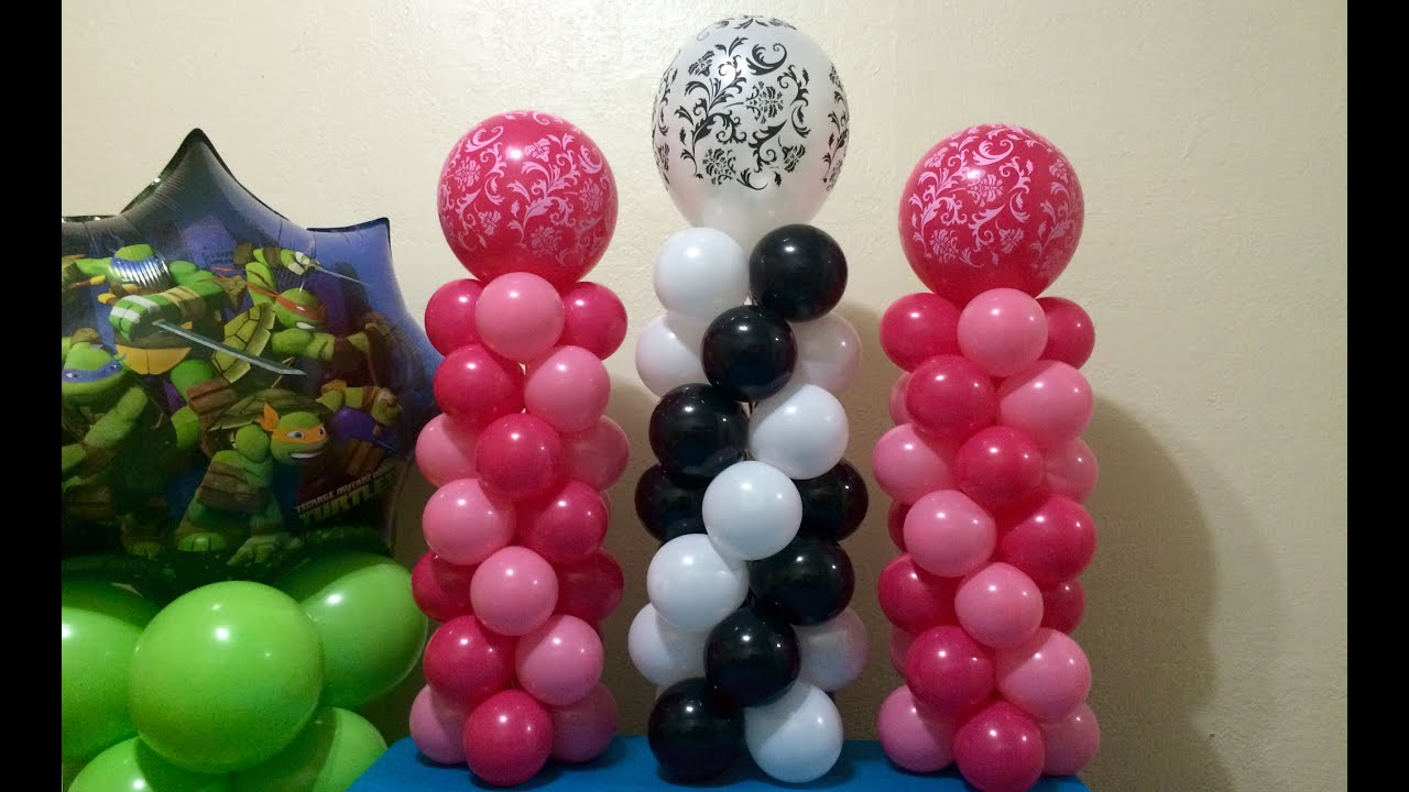 Easy mini balloon columns youtube for Balloon decoration instructions