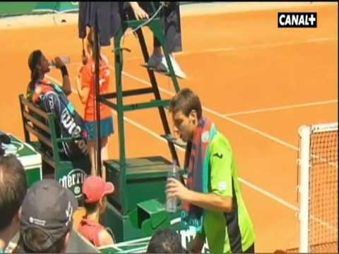 Marcel Granollers and Joao Sousa have a disagreement
