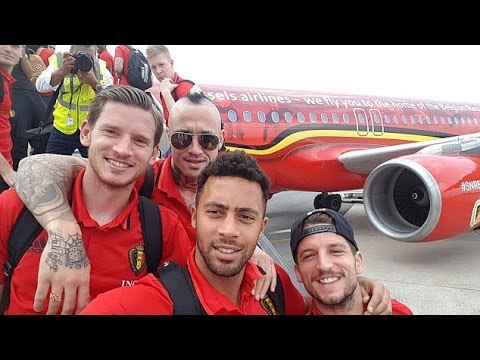 The Belgium National Team Fly Out Of Brussels To Their Euro 2016 Base In Bordeaux, France