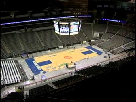Wrestling to basketball floor changeover at centurylink center omaha