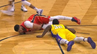 Anthony Davis Injury - Groin Injury But returns to Game! Lakers vs Pelicans February 14, 2018