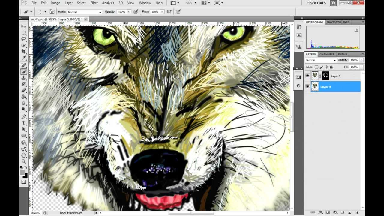 How To Draw An Angry Wolf  Hoe Teken Je Een Boze Wolf In Photoshop  [english Subtitles]