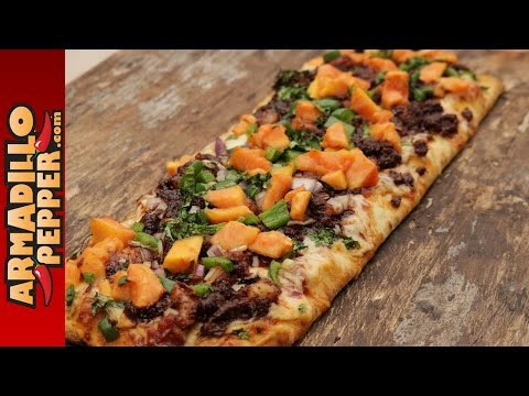 Grilled Mexican Pizza with Chorizo & Papaya on Gourmet Guru Grill