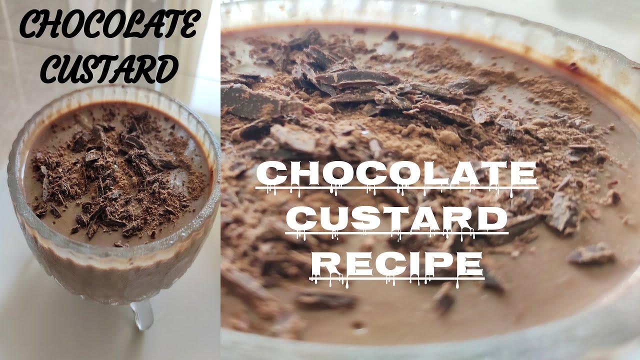 Chocolate custard Recipe   Without Egg   Choco Pudding ...
