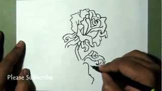 How to draw a Simple Rose flower and Beautiful bud with leaves