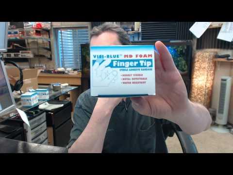Brooks FA032630 Metal Detectable Adhesive Bandage - Visi-Blue MD Foam Fingertip, Pkg/30