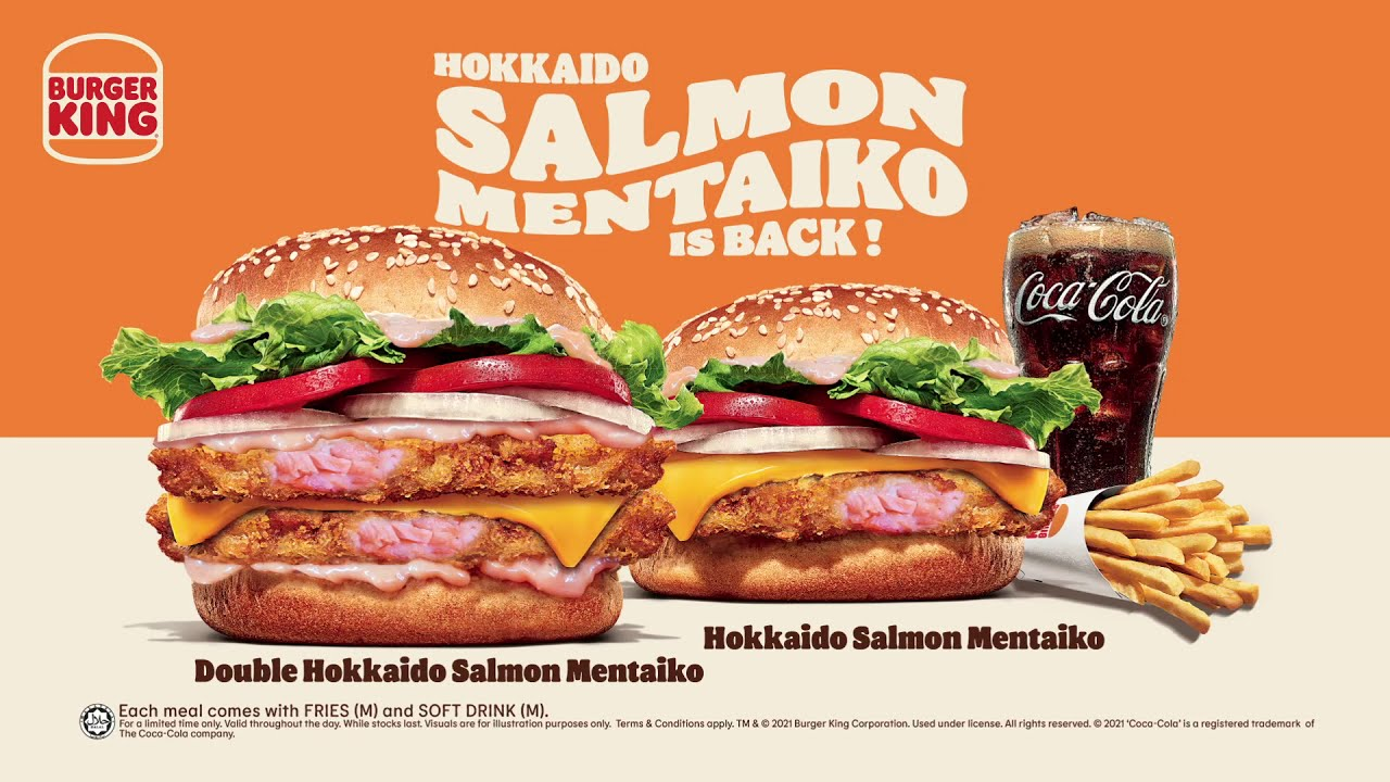 Burger King Double Hokkaido Salmon Mentaiko Burger medium set (new). worth  your RM19.80? - YouTube