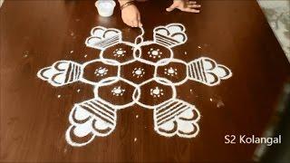 Bhogi kundalu designs - pongal pot rangoli - ponga kolam with 9 to 5 Interlaced dots