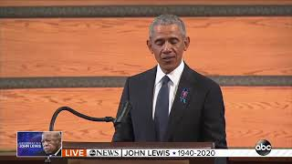 Barack Obama gives eulogy at John Lewis' funeral - FULL SPEECH  |  ABC7