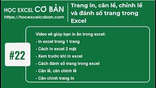 Học Excel cơ bản | #22 Trang in, căn lề, chỉnh lề và đánh số trang trong Excel