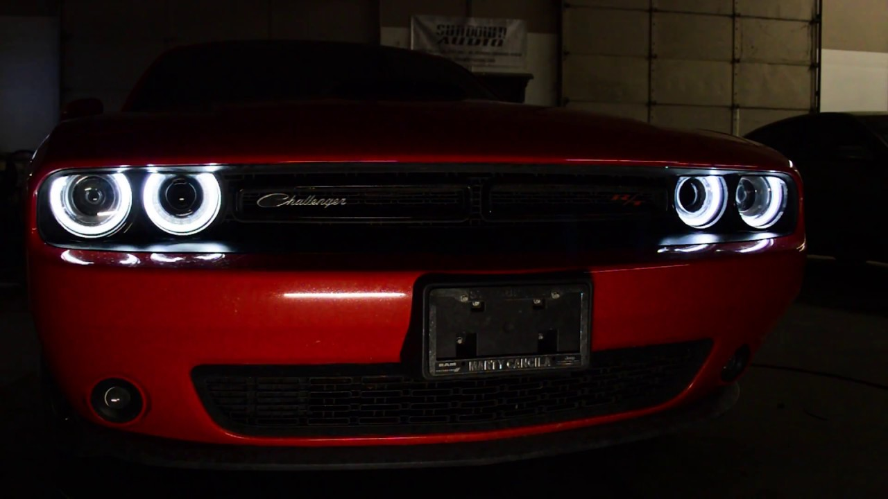 2014 Dodge Challenger Custom Rgb Halo Headlights Youtube