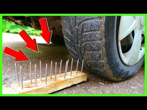 EXPERIMENT: Car Tire Vs RED Hot Nail's