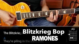Blitzkrieg Bop (RAMONES)  guitar chords and cover easy lesson