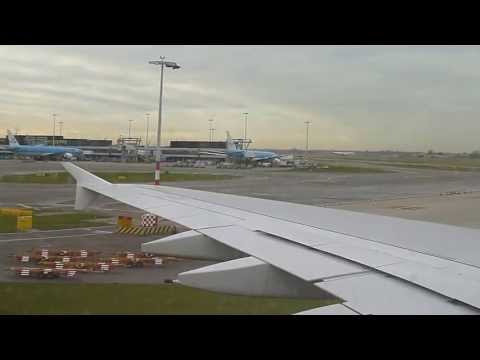 Emirates A380 Landing and taxi to gate Schiphol Amsterdam