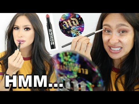 Trying NEW Products Lip Powder- BUXOM Urban Decay Elements palette Lancome