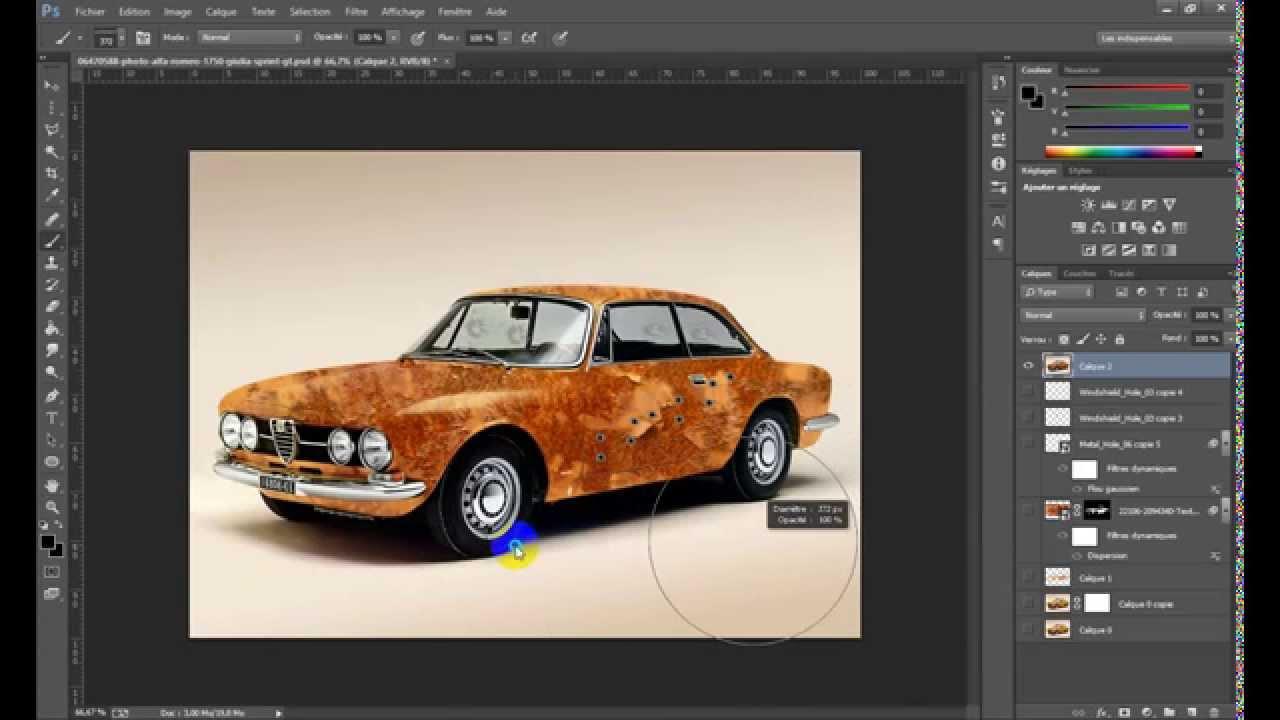 tutoriel photoshop effet de rouille sur une voiture avec photoshop cs6 youtube. Black Bedroom Furniture Sets. Home Design Ideas