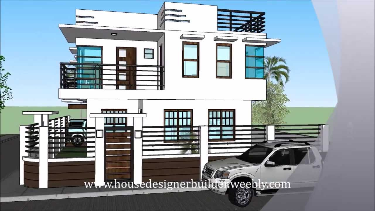 Modern 2 storey house with roofdeck youtube Modern 2 storey house