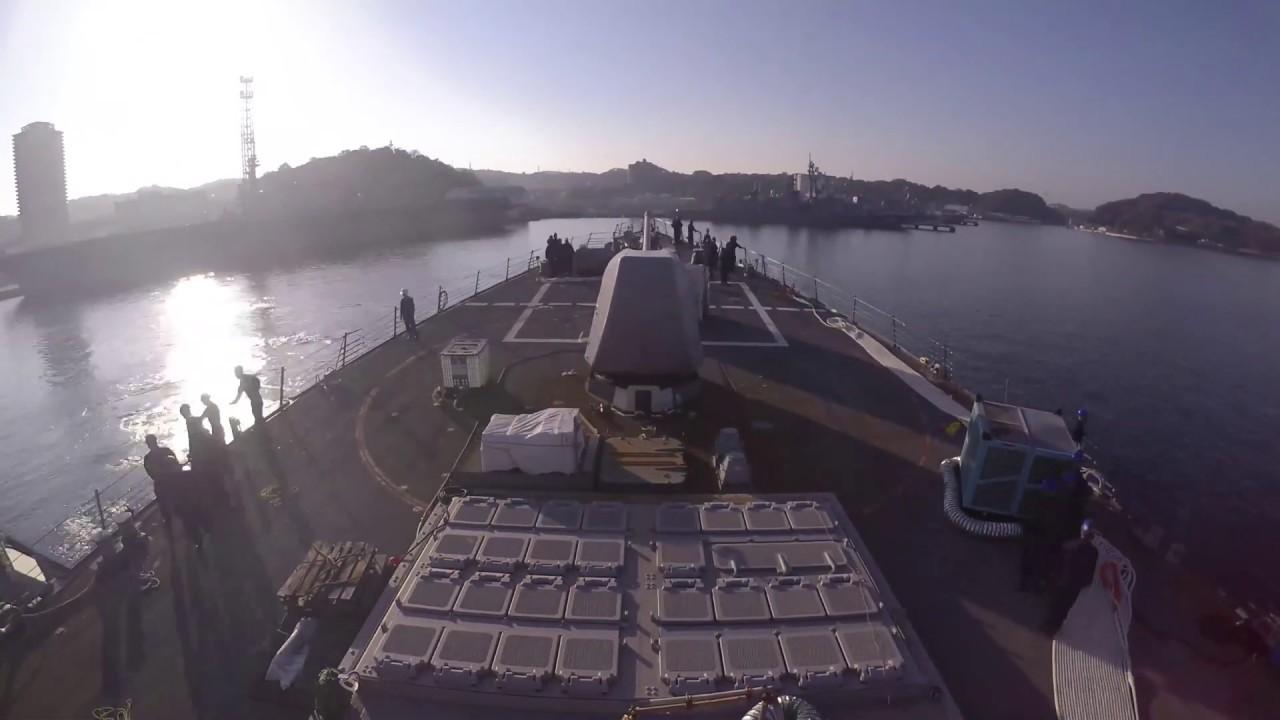 Timelapse of USS John S. McCain departing dry dock