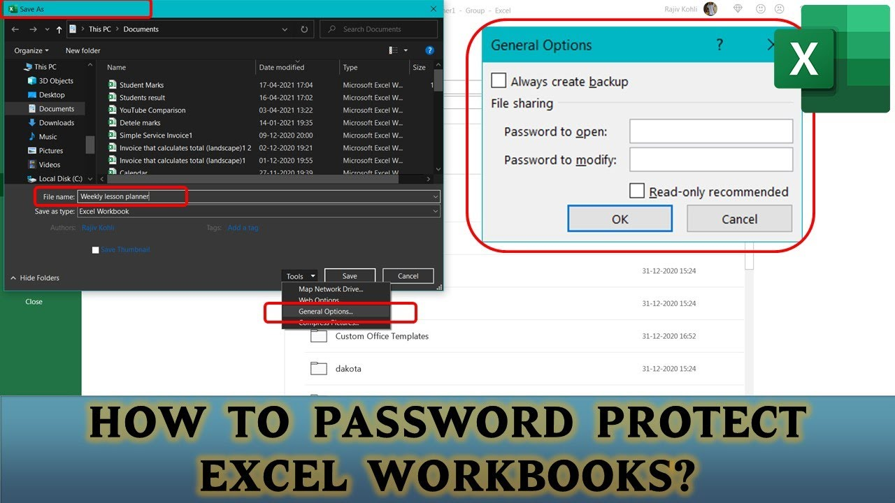 How To Password Protect Workbook | Microsoft Excel 2016 Tutorial ...