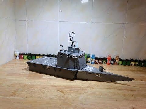 """Làm tàu chiến 3 thân bằng giấy/ """"LCS battleship"""" made of paper (#44)"""