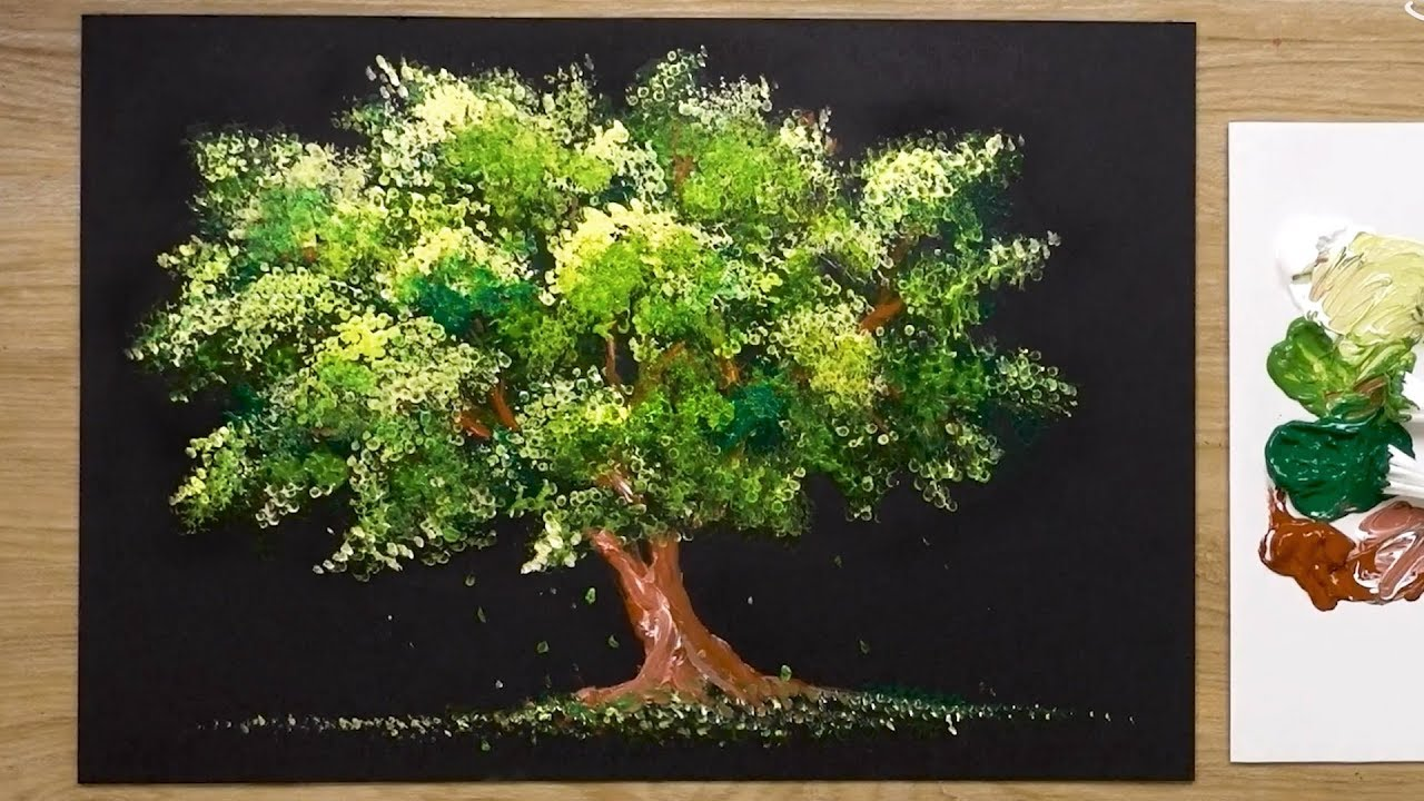 Easy Acrylic Painting Technique For Beginners Tree Youtube