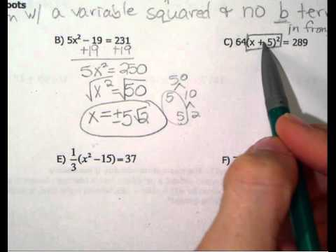 Algebra 2 - solve by square roots  15-16