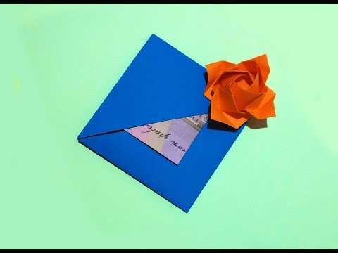 Easy Origami Envelope Or Greeting Card With Flower And Secret Message Inside. Easy Easter Card.