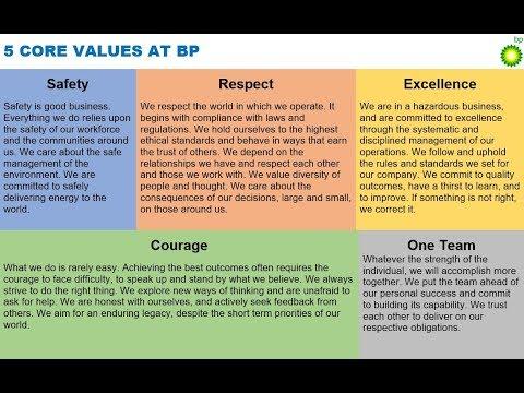 5 CORE VALUES AT BP via Bob Dudley