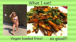ONE OF MY FAVORITE MEALS! VEGAN LOADED SWEET POTATO FRIES! SO GOOD!